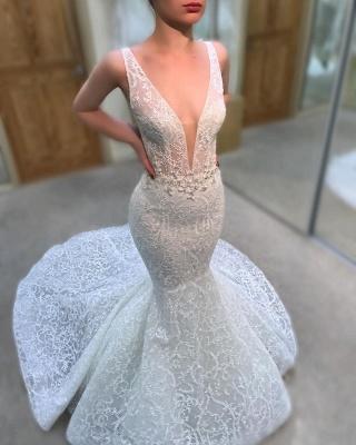 Charming Lace Mermaid Wedding Dresses   V-Neck Sleeveless Beaded Bridal Gowns_3