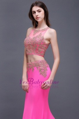 Zipper Appliques Mermaid Sexy Sleeveless Floor-Length Lace Evening Gown_5