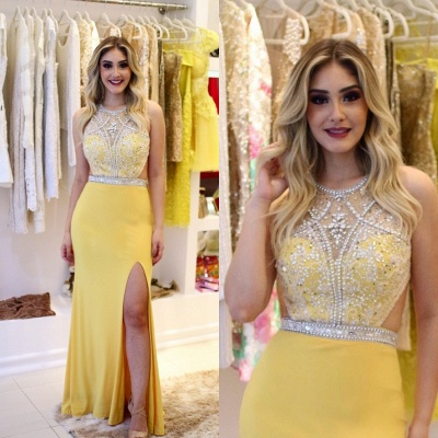 Sheath Brilliant Silt-Side Beading Sleeveless Jewel Yellow Prom Dreses_3