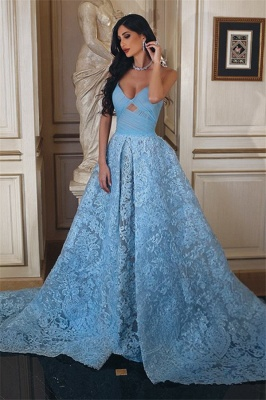 Glamorous Ruffles Sweetheart A-line Blue Lace Prom Dress_3