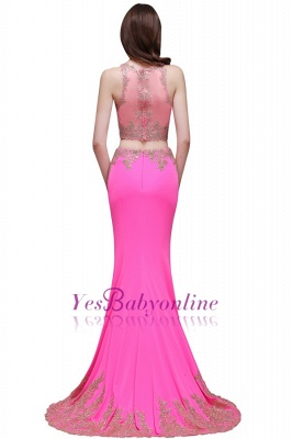 Zipper Appliques Mermaid Sexy Sleeveless Floor-Length Lace Evening Gown_3