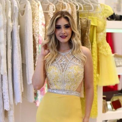 Sheath Brilliant Silt-Side Beading Sleeveless Jewel Yellow Prom Dreses_5