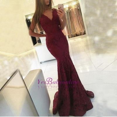 Lace Sleeveless V-neck Mermaid Newest Sweep-Train Prom Dress_1