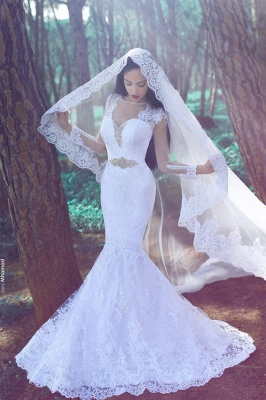 White Sexy Mermaid Wedding Dresses  | Tulle Lace Appliques Bridal Gowns_1