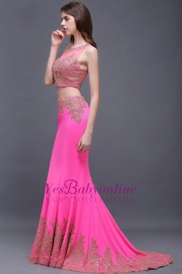 Zipper Appliques Mermaid Sexy Sleeveless Floor-Length Lace Evening Gown_4
