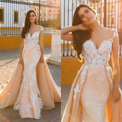 Graceful Jewel Cap Sleeve Lace Mermaid Wedding Dress With Detachable Train_5