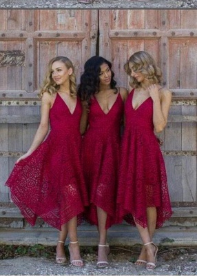Sleeveless A-Line Bridesmaid Dresses   V-Neck Lace Wedding party dresses_4