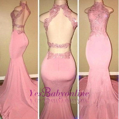 Mermaid Long Open-Back Pink High-Neck Prom Dresses_1