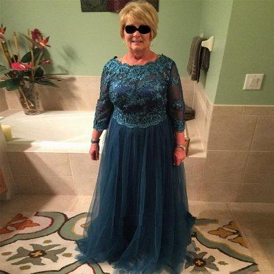 Elegant A-line Long Sleeves Floor Length Lace Mother of Bride Dresses_3