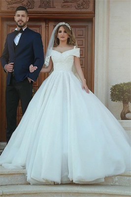 Gorgeous Off the Shoulder Satin Tulle Ball Gown Wedding Dresses_1