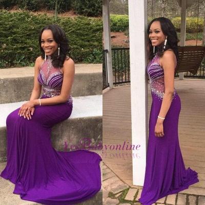 Mermaid Glamorous Crystal Halter Sleeveless Grape Prom Dress_1
