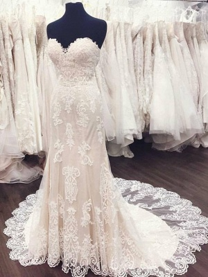 Sweetheart White Lace A-Line Elegant Weeding Dresses_2