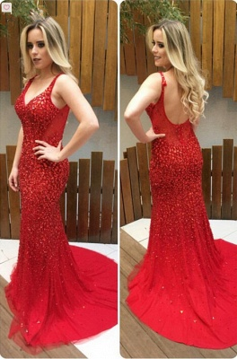 Mermaid Backless Long Red Crystals V-Neck Prom Dresses_2