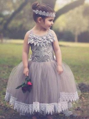 Lovely Chic Ball Gown Tulle Flower Girl Dresses | Lace Bowknots Kids Pageant Dresses_1
