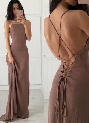 Brown Simple Long Formal Spaghettis-Straps Party Dresses_2