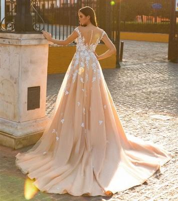Graceful Jewel Cap Sleeve Lace Mermaid Wedding Dress With Detachable Train_4