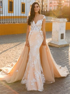 Graceful Jewel Cap Sleeve Lace Mermaid Wedding Dress With Detachable Train_3