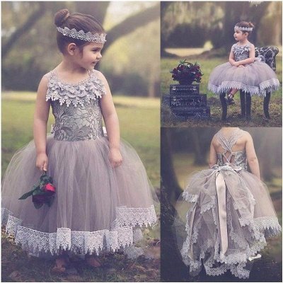 Lovely Chic Ball Gown Tulle Flower Girl Dresses | Lace Bowknots Kids Pageant Dresses_3