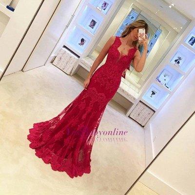 Lace Red Sexy Mermaid Long Sleeveless Elegant Evening Dresses_1