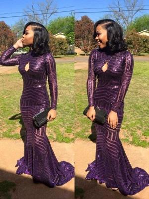 High-Neck Long-Sleeve Sequins Mermaid Keyhole Prom Dress_1