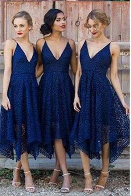 Sleeveless A-Line Bridesmaid Dresses   V-Neck Lace Wedding party dresses_1