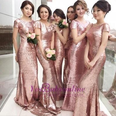 Sequined Mermaid Gorgeous Short-sleeve Jewel Pink Bridesmaid Dress_1
