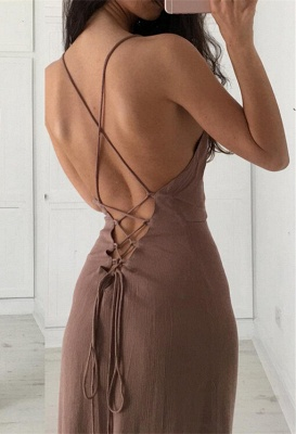 Brown Simple Long Formal Spaghettis-Straps Party Dresses_4