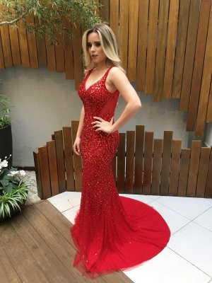 Mermaid Backless Long Red Crystals V-Neck Prom Dresses_3
