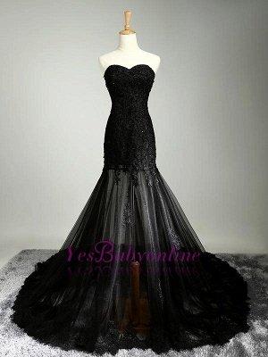 Black Beaded Mermaid Elegant Lace-Applique Sweetheart Prom Dresses_1