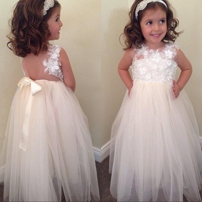 Floral-Appliques A-line Cute Bowknot Floor-Length Flower-Girl-Dresses_3