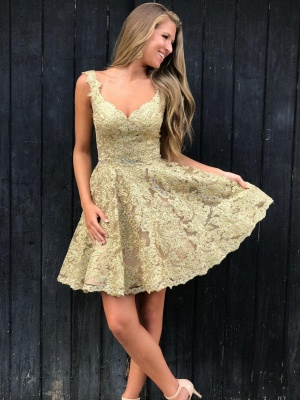 Elegant Lace Gold Homecoming Dresses | Sleeveless A-Line Cocktail Dresses BC2252_6