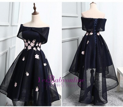 High-Low A-line Chic Flowers-Appliques Short-Sleeves Short Off-The-Shoulder Prom Dresses_1