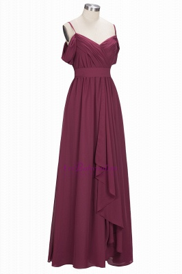 Chiffon Burgundy Bridesmaid Dresses,Spaghettis Straps Long Bridesmaid Dress_4