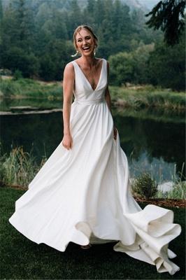 V-neck Sleeveless A-line Stiff Wedding Dresses | Grace Bridal Gown_1
