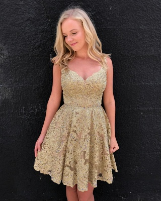 Elegant Lace Gold Homecoming Dresses | Sleeveless A-Line Cocktail Dresses BC2252_3