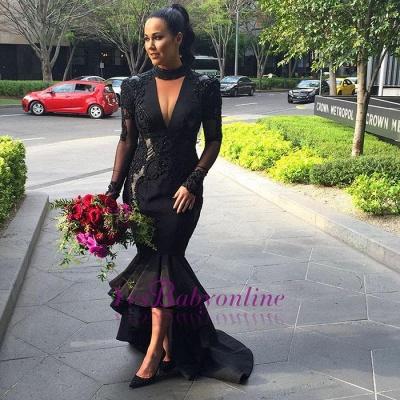 Hi-lo Lace Long-Sleeves Deep-V-Neck Appliques Black Mermaid Puffy Prom Dresses_1