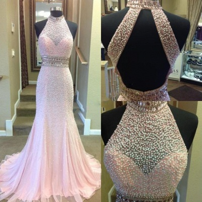Fashion Crystal Two-Pieces Open-Back Sexy Mermaid Halter Prom Dress_3