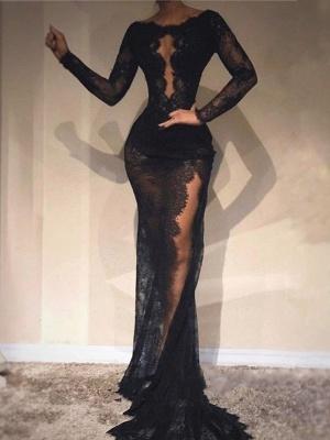Black Long Sleeves Evening Dresses   Scoop Lace Side-Slit Prom Dresses_1