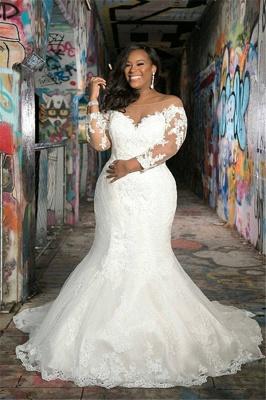 Plus Size Jewel Long Sleeve Applique Lace Mermaid Wedding Dresses_1