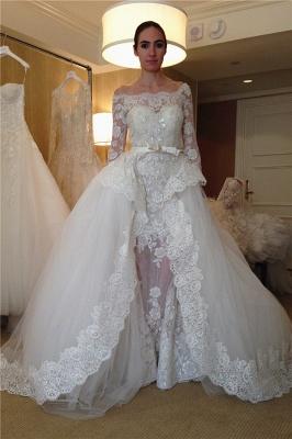 Elegant Bateau Long Sleeve Applique Beaded Detachable Skirt Sheath Wedding Dresses_1