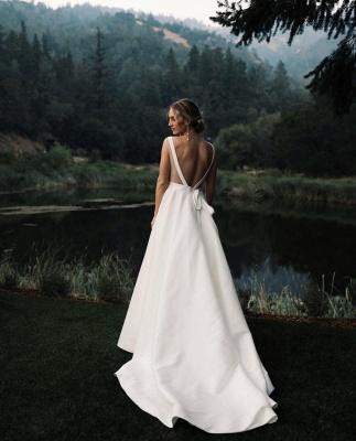 V-neck Sleeveless A-line Stiff Wedding Dresses | Grace Bridal Gown_2