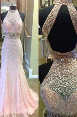 Fashion Crystal Two-Pieces Open-Back Sexy Mermaid Halter Prom Dress_2