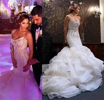 Newest Sexy Mermaid Sweetheart Wedding Dreses Crystal Ruffles Bridal Gowns_3