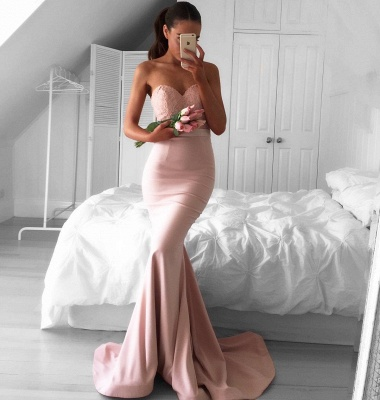 Sleeveless Newest Sweetheart Sweep-Train Mermaid Prom Dress_3