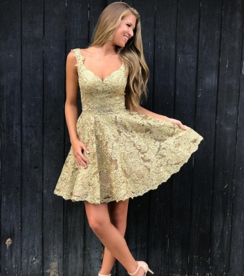 Elegant Lace Gold Homecoming Dresses | Sleeveless A-Line Cocktail Dresses BC2252_1