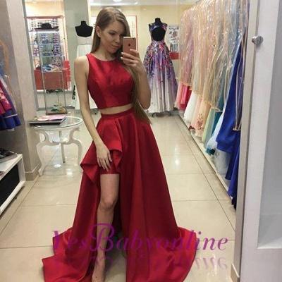 Two-Piece Newest Hi-Lo A-line Red Jewel Prom Dress_1