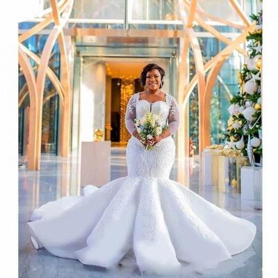 Charming Mermaid Lace Wedding Dresses | Chapel Train Long Sleeves Appliques Bridal Gowms_6