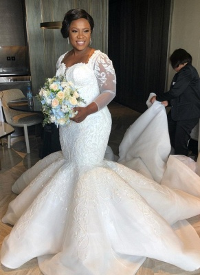 Charming Mermaid Lace Wedding Dresses | Chapel Train Long Sleeves Appliques Bridal Gowms_1