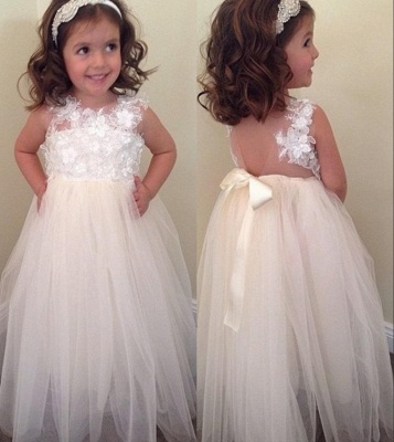 Floral-Appliques A-line Cute Bowknot Floor-Length Flower-Girl-Dresses_2