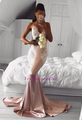 Cute Pink Mermaid Prom Dresses   Spaghettis Straps Evening Gowns with Lace Appliques_1